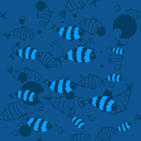 seamless background with marine fish Vector