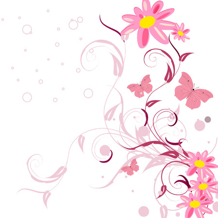 Floral patterns with butterflies Stock Vector - 7526906