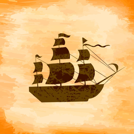 galley: Boat on the background grunge Illustration