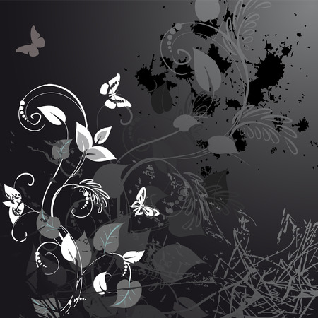 grunge shape: grunge floral design with butterflies