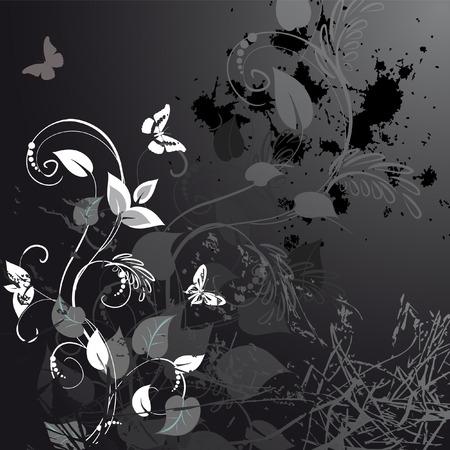 vintage grunge image: grunge floreale con farfalle  Vettoriali