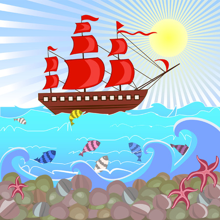 Seascape with sailboat Stock Vector - 7606200