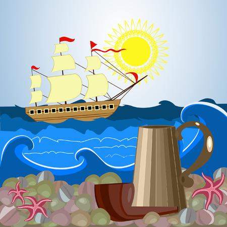 still life sailor Vector