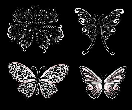 set of delicate butterflies Stock Vector - 7637064