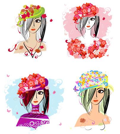 green hair: Flower hats