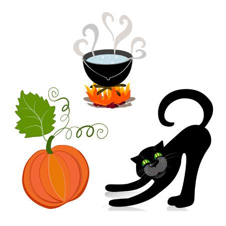 fib: caldero de calabaza de gato  Vectores