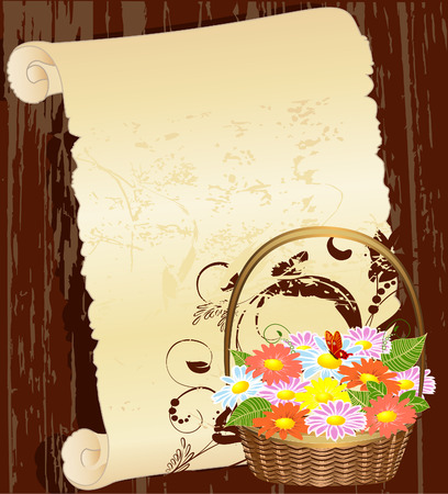 gift basket: Flower basket in the background grunge