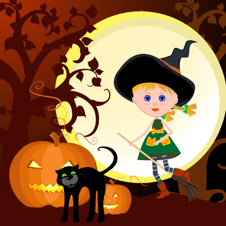 Witch on the eve of All Saints Vector