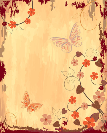 Old grunge paper with patterns Vector