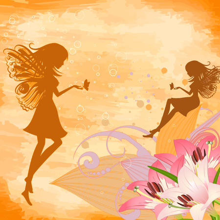 flower fairies on the grunge background Vector