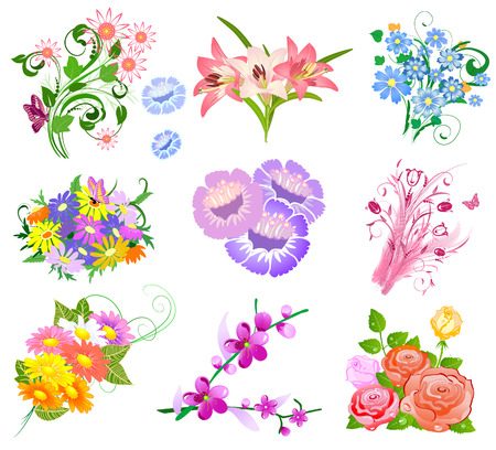 set a bouquet of flowers Stock Vector - 7718401