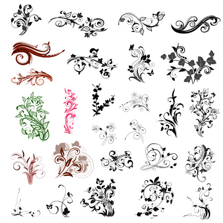 set of abstract floral patterns Stock Vector - 7718400