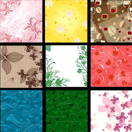 collection series: set of abstract floral background Illustration