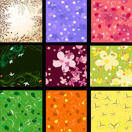 set of abstract floral background Vector