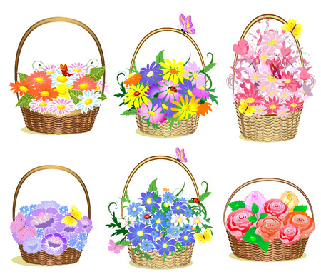 flores vintage: Baskets of flowers Illustration