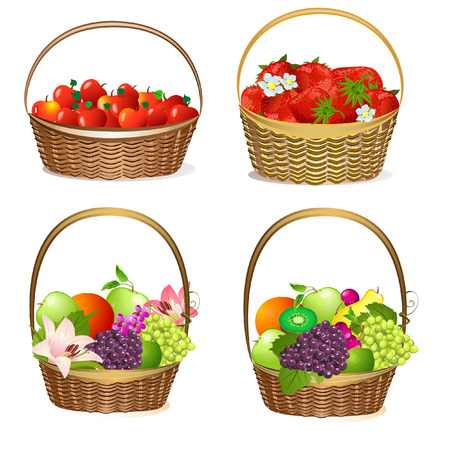 fruit and berry baskets Vector