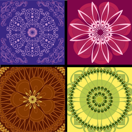 set pattern arabesque background Vector