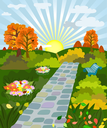 flower flora: sunny day in autumn park Illustration
