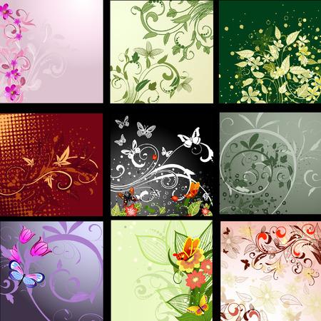 floral elements: background patterned set