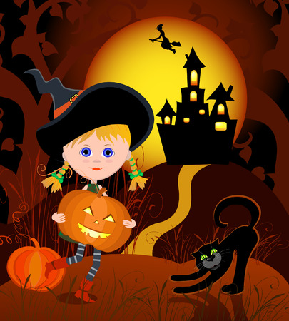 Little Witch with pumpkin Vector