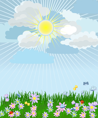 lush grass with flowers Vector