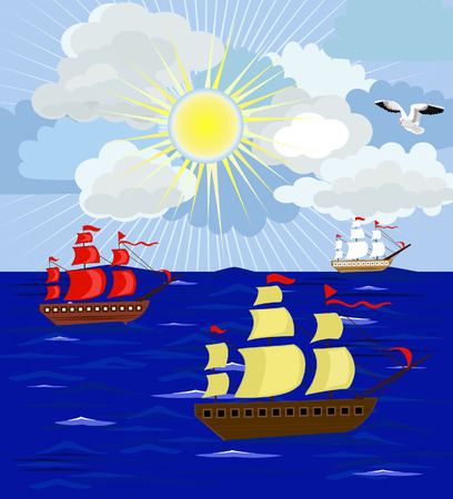 yachts on the high seas Vector