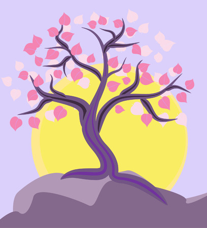 tree on the mountain top Vector