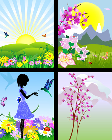set of natural landscapes Stock Vector - 7896794