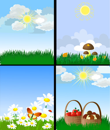 set of natural landscapes Stock Vector - 7896792