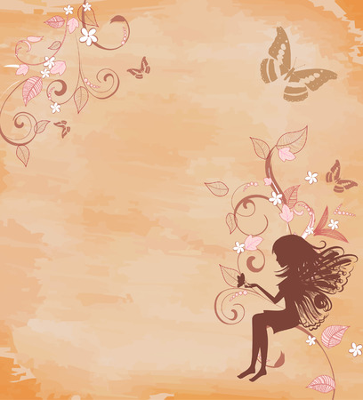 butterfly  angel: grunge background with a fairy Illustration
