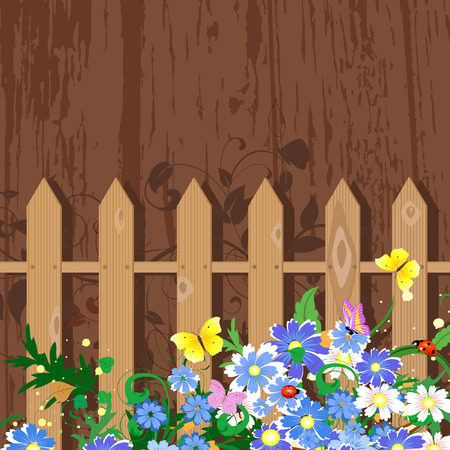 grunge decor with fence Stock Vector - 7896836