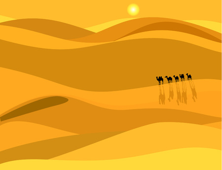 sahara desert: Camel caravan in the desert Illustration