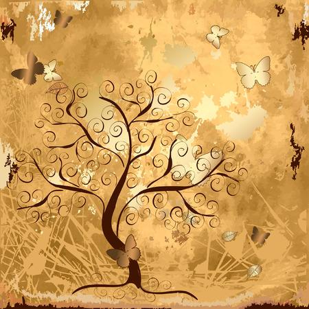 Fondo de grunge con un árbol de oro con mariposas  Ilustración de vector