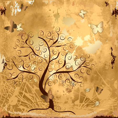 Grunge background with a gold tree with butterflies Vector