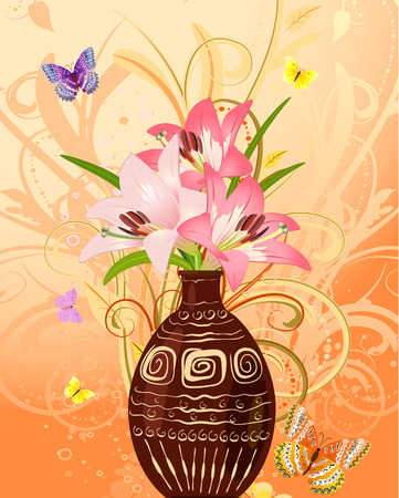 flowers in vase: vase of flowers with butterflies Illustration