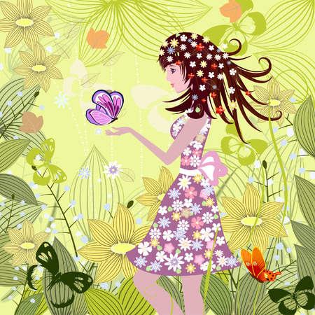 spring fashion: Girl in a fairy tale forest Illustration