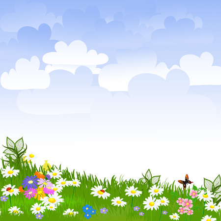butterfly garden: Flower clearing Illustration