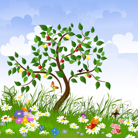 cartoon trees: Flower clearing with fruit trees