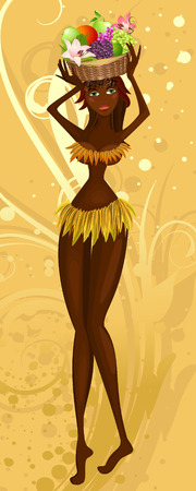 zulu: Native with a fruit basket Illustration