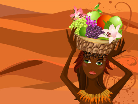 Portrait of a native with a fruit basket Vector