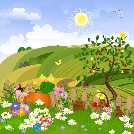 summer season: Rural landscape with fruit trees Illustration