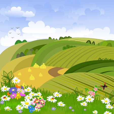 Rural landscape with flower meadow Vector