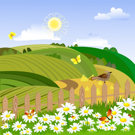peaceful scene: Rural landscape with a fence