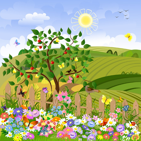 cartoon spring: Rural landscape with fruit trees and a fence