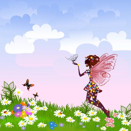 eleganz: Celestial Fairy auf einer Blumenwiese Illustration