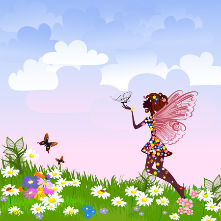 fairy silhouette: Celestial Fairy on a flower meadow