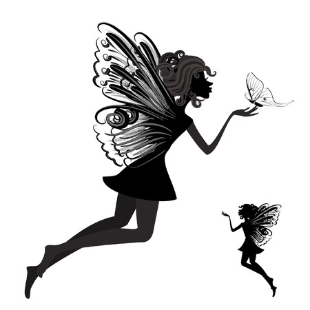 Silhouette of a fairy with butterfly Stock Vector - 8076364