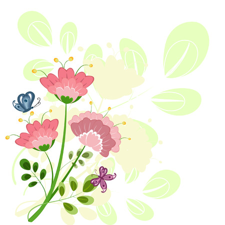 bouquet of pink flowers abstract Vector