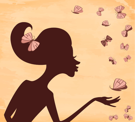 profile picture: Silhouette of a girl with a butterfly on the background grunge