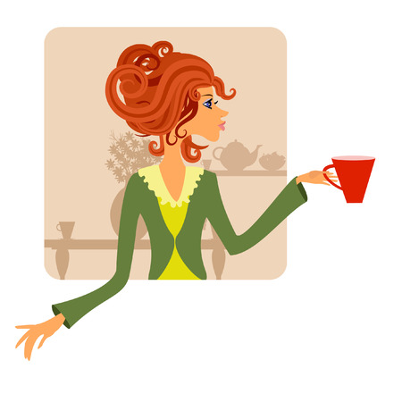 Girl with a cup of coffee Stock Vector - 8076361